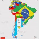 Flag 3d map of South America.